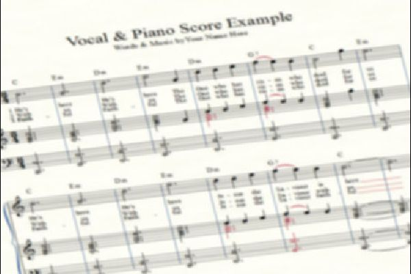 3 Stave Vocal & Piano Score